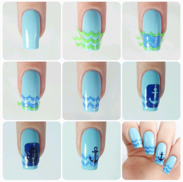 How to create a fun Nautical manicure using our Anchor Nail Decals and our Hilly Nail Vinyls found at snailvinyls.com
