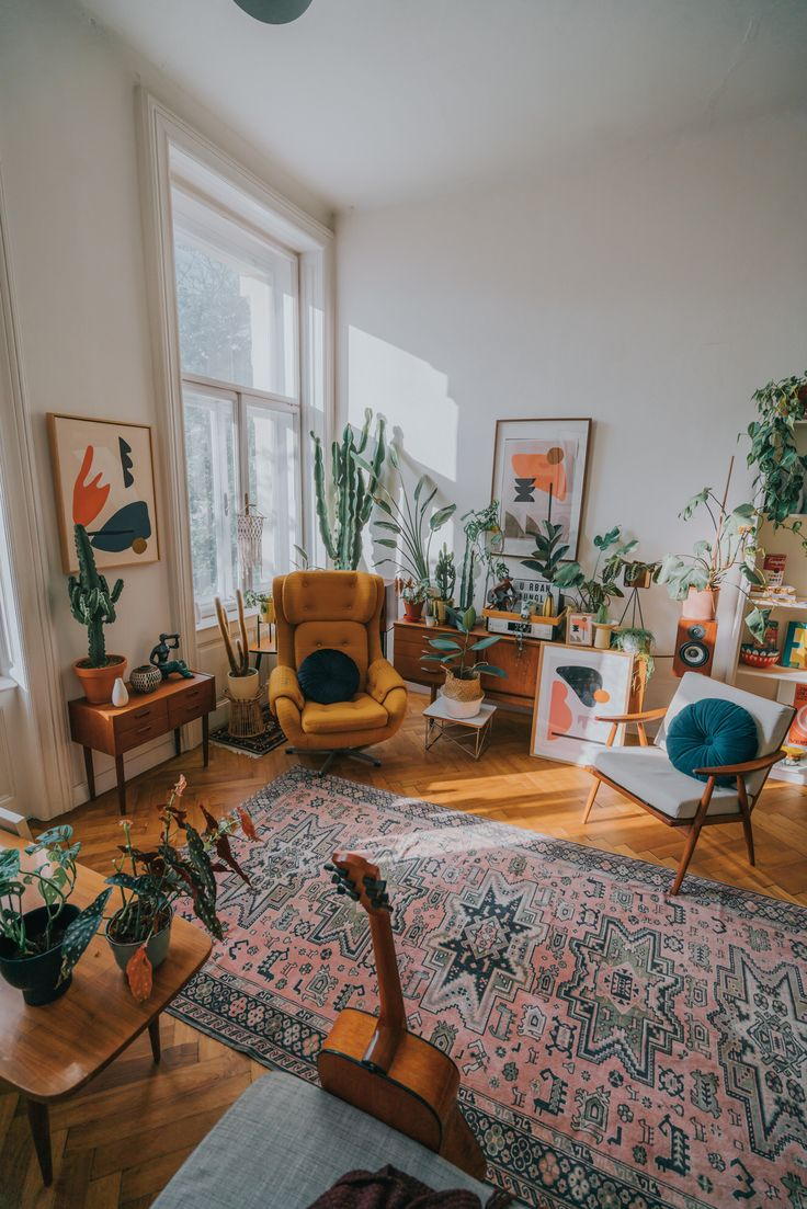 Bohemian interior with abstract art and plants