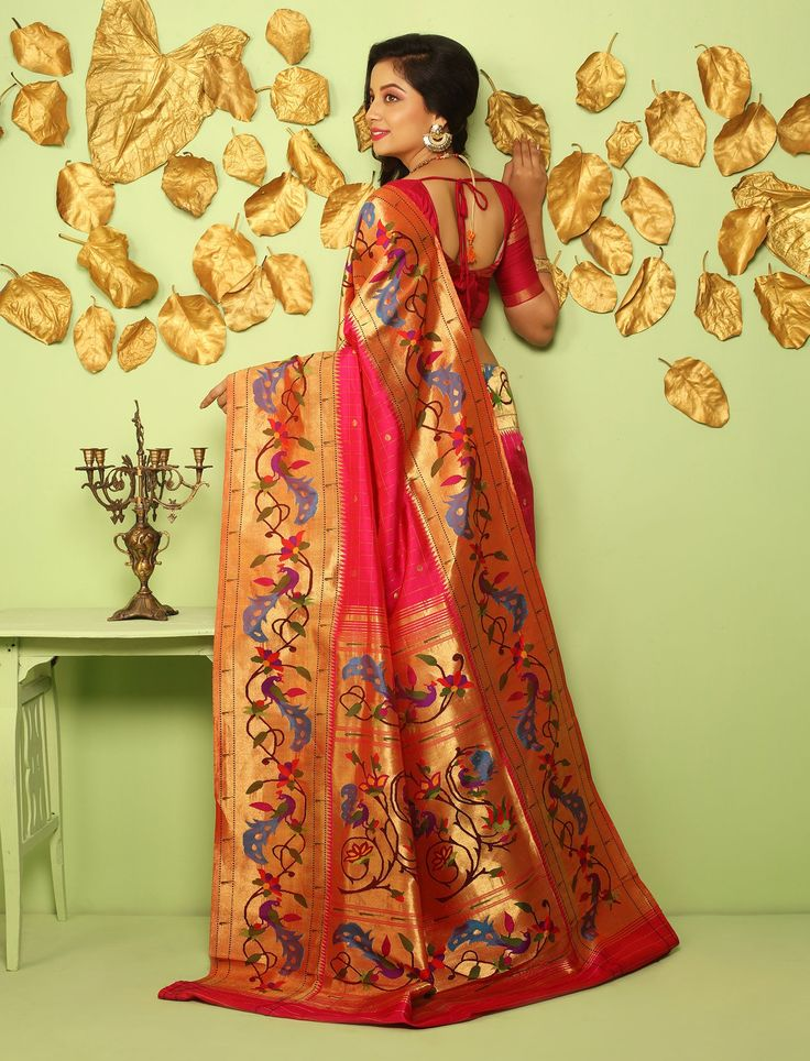 Tarabai Gulabi Bel Peacocks Paper Gold Border Pallu Imperial Real Zari Double Turning Paithani Silk Saree