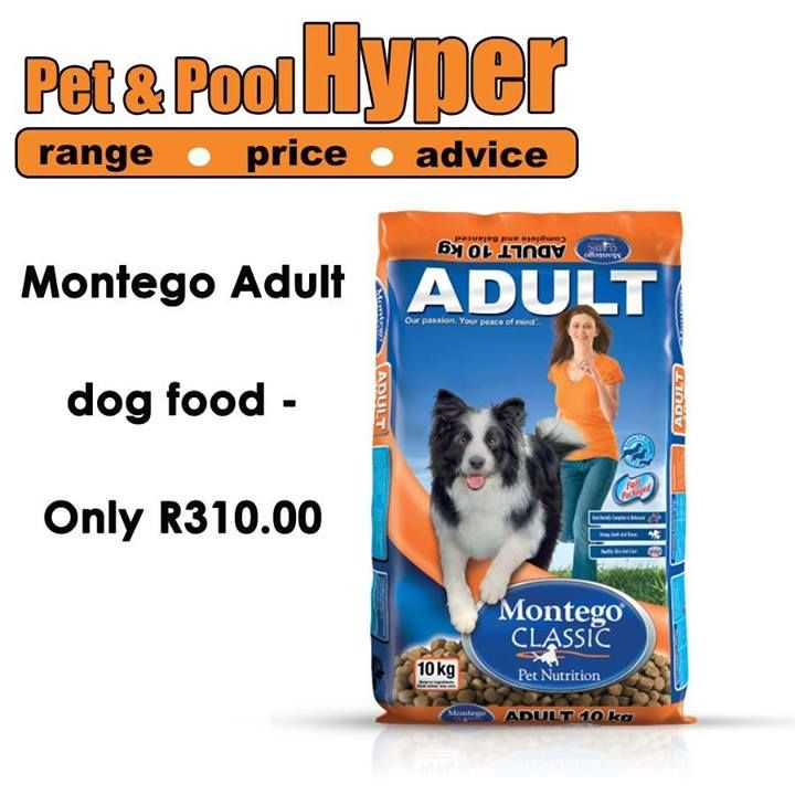 Great savings from Pet & Pool Hyper Boksburg - Montego Adult dog food only R310.00. Don't miss out on these great specials. Hurry down today. #petshop #montego