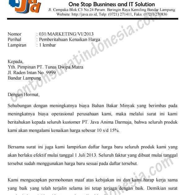 Contoh Surat Pemberitahuan Secara Resmi Surat Pimpinan Pemerintah