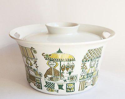 Figgjo Scandinavian Vintage Turi, Market Pattern Lidded Casserole Tureen LARGE