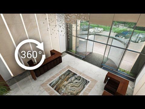 360° - 3D render   Интерьер   Апарт-отель   Вестибюль, лобби, Вид 2 - YouTube