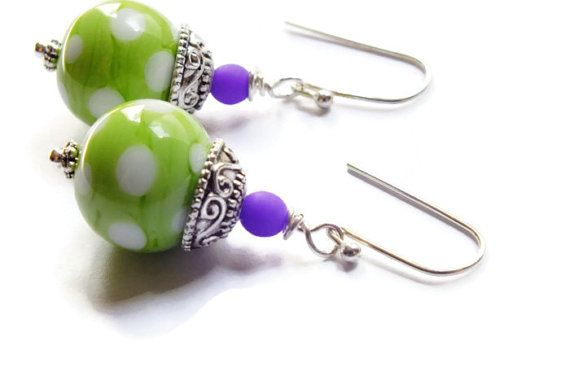 Green Polka Dot Artisan Lampwork Earrings Sterling by harmony5
