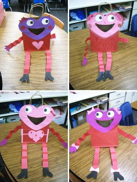 the teacher wife student artwork valentines day sack craft
