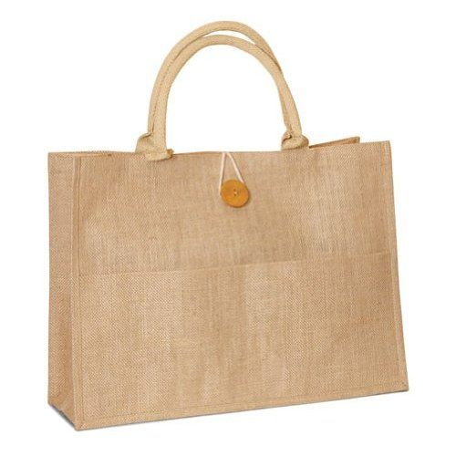 "Natural Jute Burlap tote bag with cotton handles buttoned closure front pocket bags Size 18""W x 14""h x 6""Gusset - CarrygreenBags"