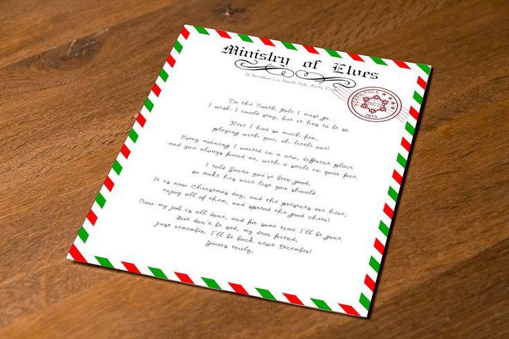 Instant Download! Printable Elf Goodbye Letter by FestivaPartyDesign on Etsy