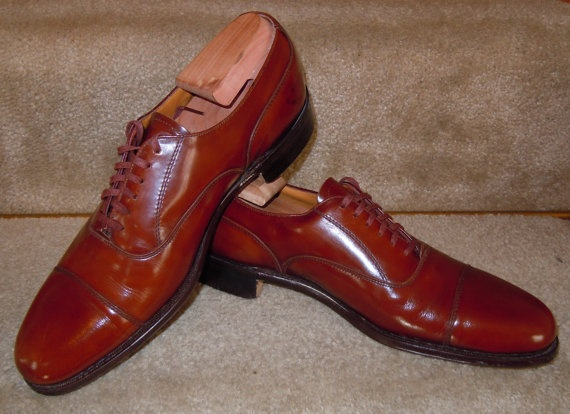 Vintage English Benchmade 6 Eyelet Cap Toe Mens Shoes by Cheaney for Cole Haan 9.5