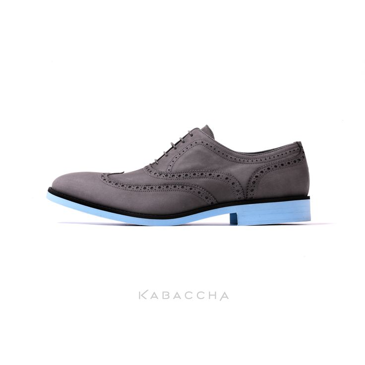 Kabaccha Shoes // Grey Nubuk Leather & Black/ Sky Blue Sole Wingtip   #KabacchaShoes #WIngtips