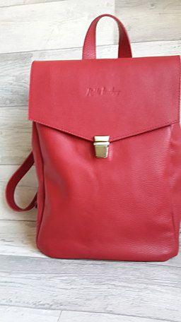 Кожаный рюкзак Красный. Рюкзак из натуральной кожи. Красный рюкзак с подкладкой от MuNaLeather