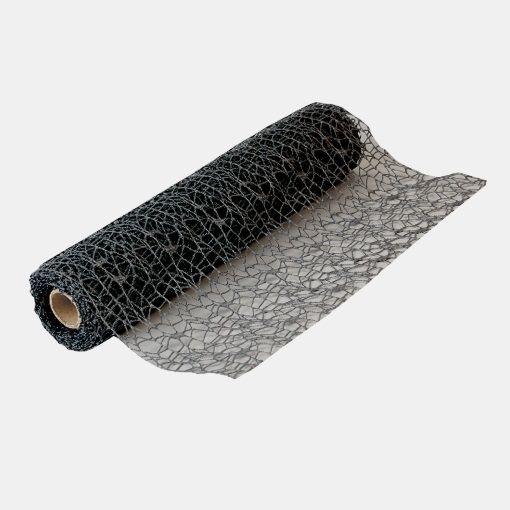 Decoration non woven, black 37cm x 5m - Stoff & Stil
