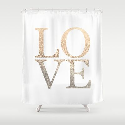 GATSBY GOLD LOVE Shower Curtain #love #gold #letters #typo #text #showercurtain #bathroom #ombre #glitter #gatsby #strigel