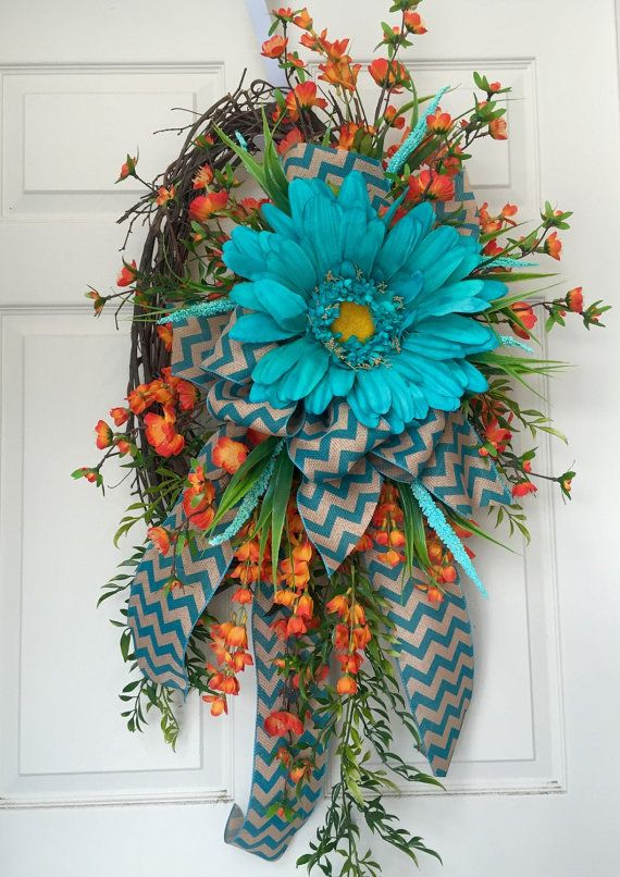 Oval Grapevine Summer Wreath by WilliamsFloral on Etsy