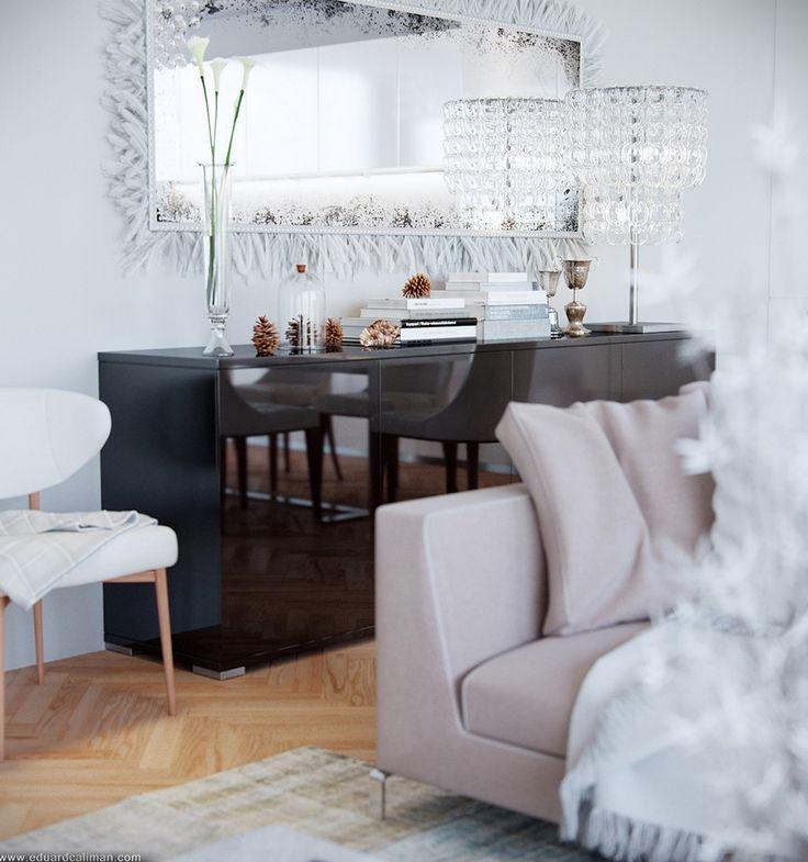Living Room, Intriguing Black Buffet Astounding Varnished Parquet Floor Awesome Grey Sofa Cushion Stunning Carpet Wonderful Glass Flower Vas...