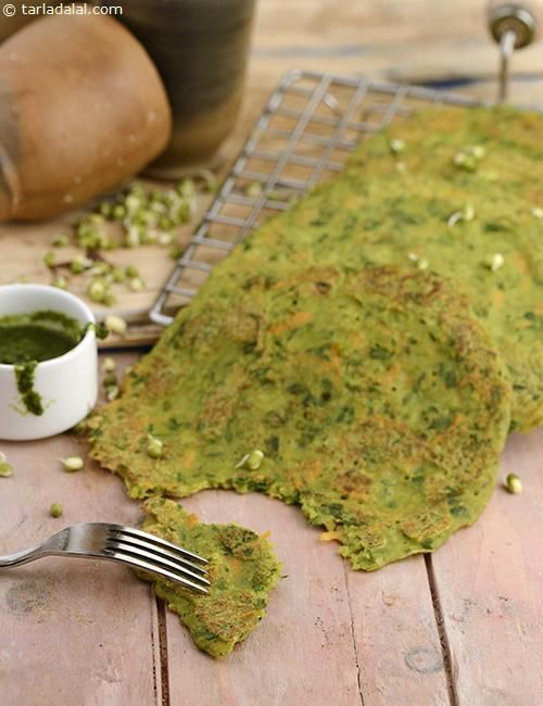 Sprouts Pancakes, a thoughtful mélange of moong sprouts and veggies, this dish is not just easy to put together but also a real culinary and visual treat!
