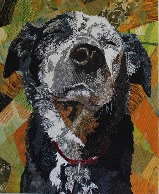 """Sun Worship"" dog portrait quilt by Barbara Yates Beasley"