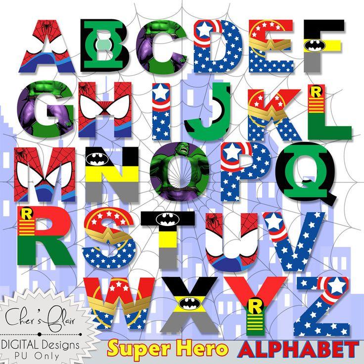 Superhéroe letras del alfabeto-superhéroe cartas digitales