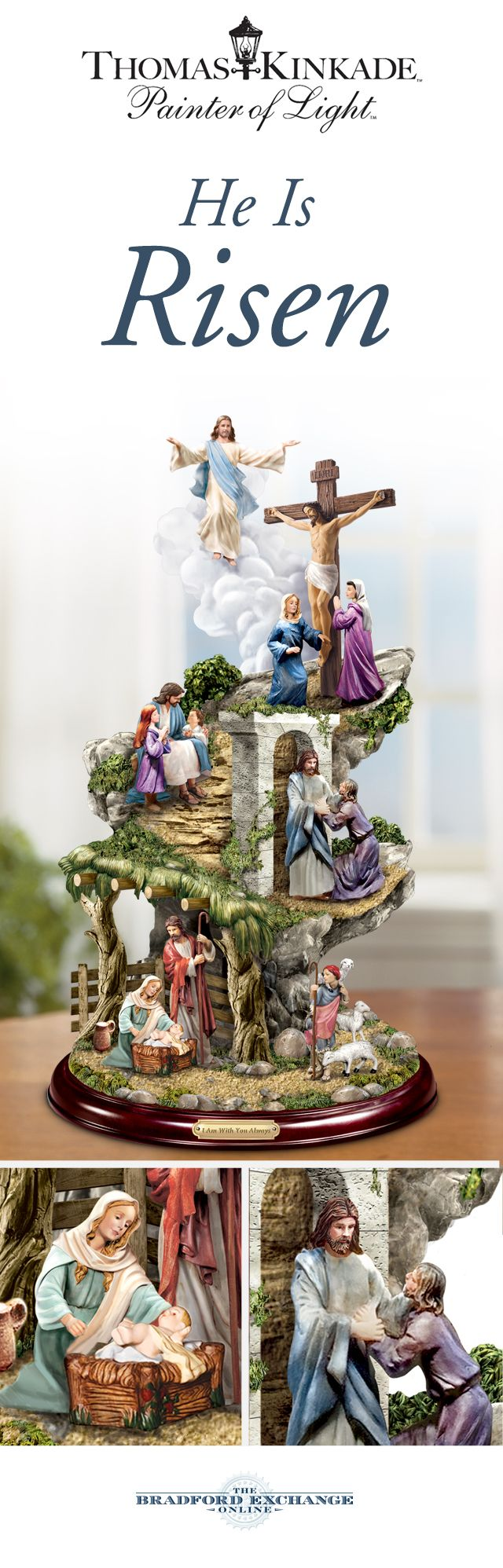 Celebrate the inspiring story of Jesus in this meaningful Thomas Kinkade sculpture. Five unique scenes capture pivotal moments from the life of Christ in colors inspired by the Renaissance.