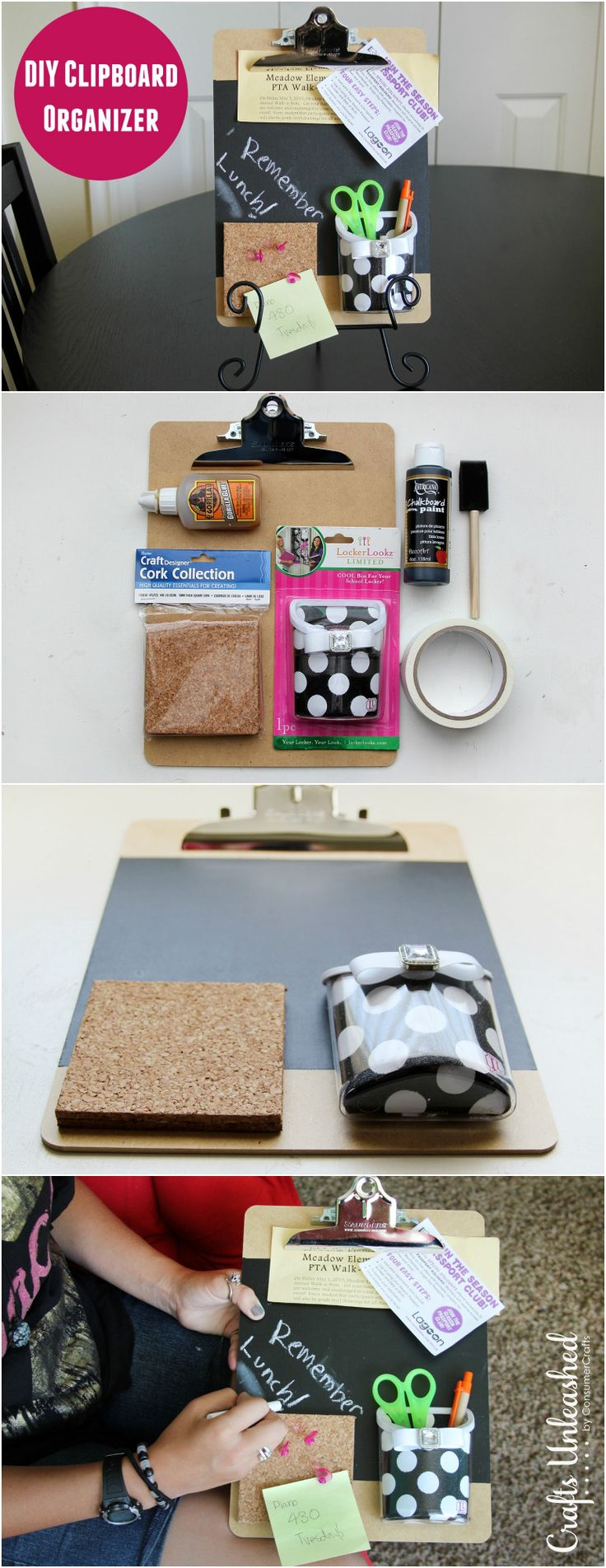 Help keep the kids or yourself on task with this fun & useful DIY clipboard organizer. It's simple to put together & is great for homework or the office!