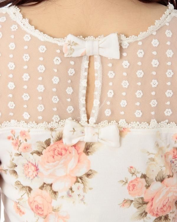 ♀ pretty floral dress with sheer lace top and keyhole