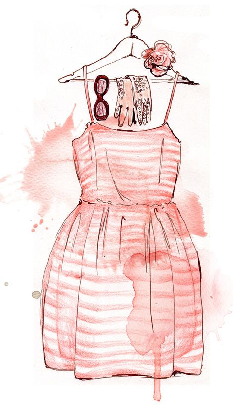 girly aquarel fashion illustration mixed technique