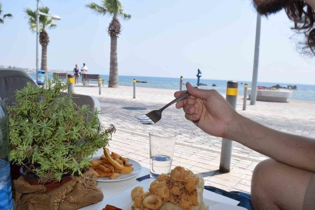 Eating Kalamari in Pafos Cyprus