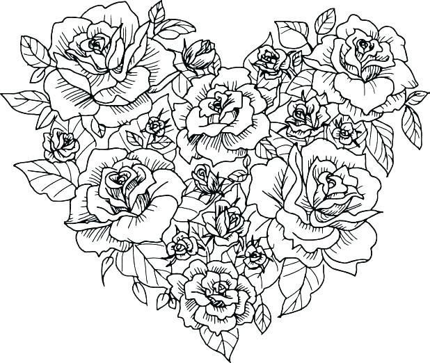 Coloring Pages Of Flowers And Hearts Best Coloring Pages 2018 Heart Coloring Pages Rose Coloring Pages Flower Coloring Pages
