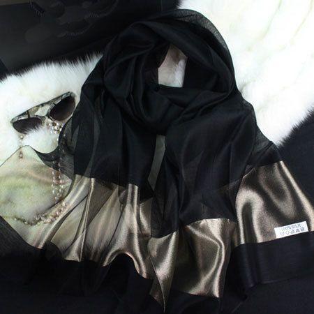 2016 new silk women scarf 20 color fashion black stitching gold silk scarf silk scarves cotton shawls brand wj0120