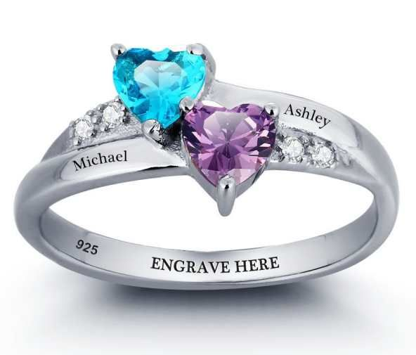 Two Hearts Birthstone Ring. Buy at www.belisdelights.com