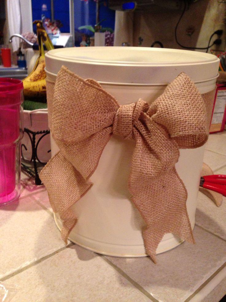 Bucket if cuteness! Spray painted popcorn tin