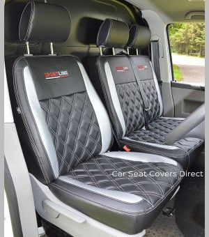 "Tailored VW Transporter #T5 & #T6 seat covers. Black Leatherette diamonds with silver inserts and ""Sportline"" logos"