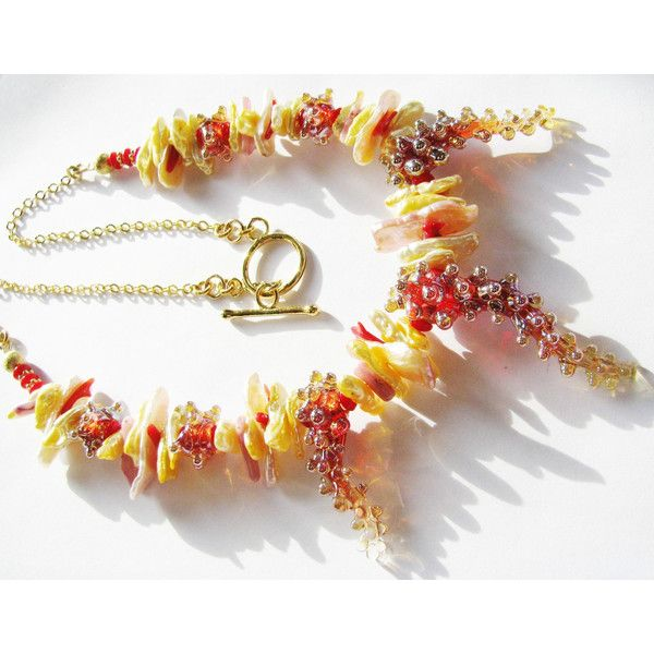 FREESHIP Can USA, SALE, Red Lampwork Necklace, Fw Biwa Pearls, Coral,... ($110) ❤ liked on Polyvore featuring jewelry, necklaces, 14k necklace, 14k pearl necklace, long pearl necklace, red coral jewelry and long red necklace