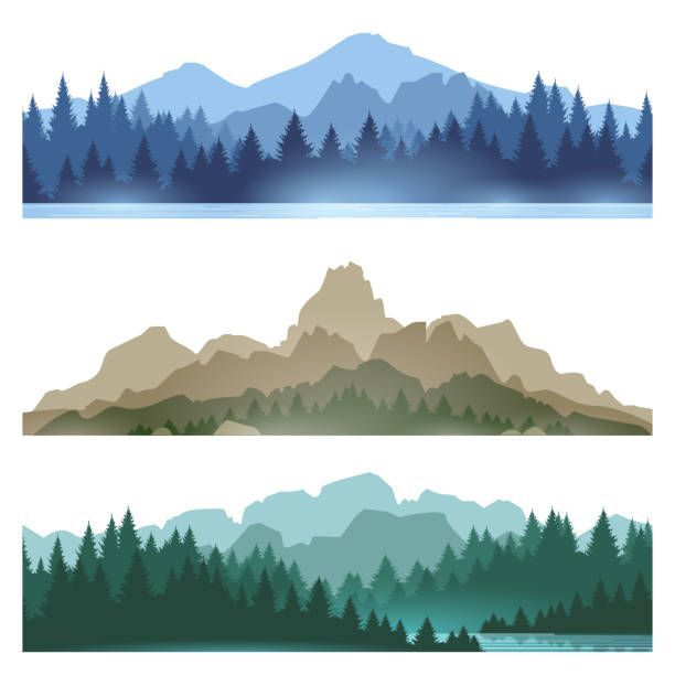 Foggy mountains landscape set vector illustration. Smokey rocky