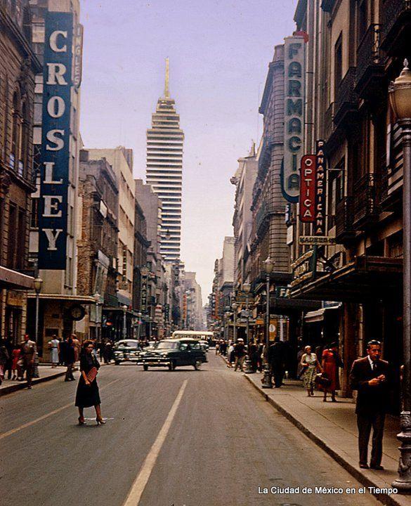 Mexico City downtown. 1950's Francisco I. Madero Street.
