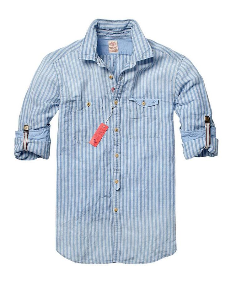 Long-sleeved chambray shirt with roll-up braces - Shirts - Official Scotch & Soda Online Fashion & Apparel Shops