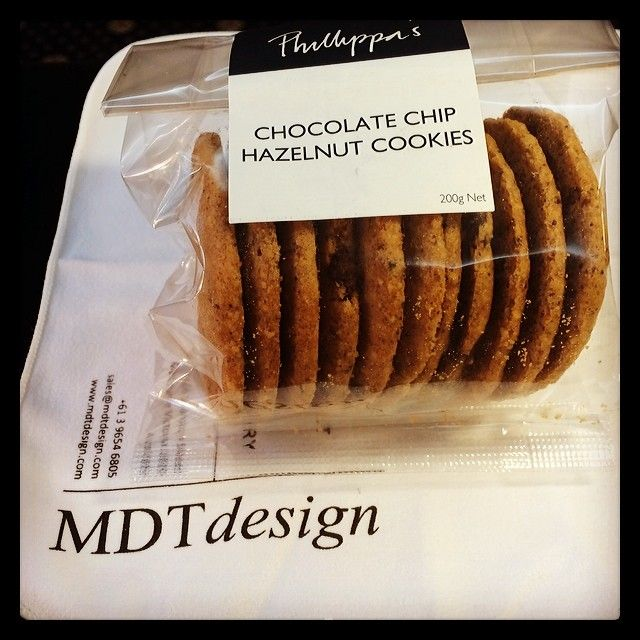 A much appreciated long time client decided to bring us an afternoon snack, perfect way to end a Friday! #happyclients #mdtdesign #melbourne #tgif #afternoonsnack #teatime #phillipas #chocolatechipcookies