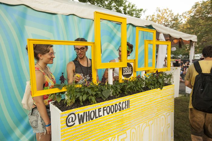 Whole Foods' photo op let guests pose in bright frames that appeared to grow out of a garden box.  Photo: Barry Brecheisen for Bizbash