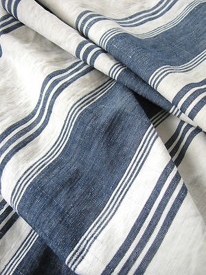 Antique blue and white ticking fabric ~ French ~ love this fabric!