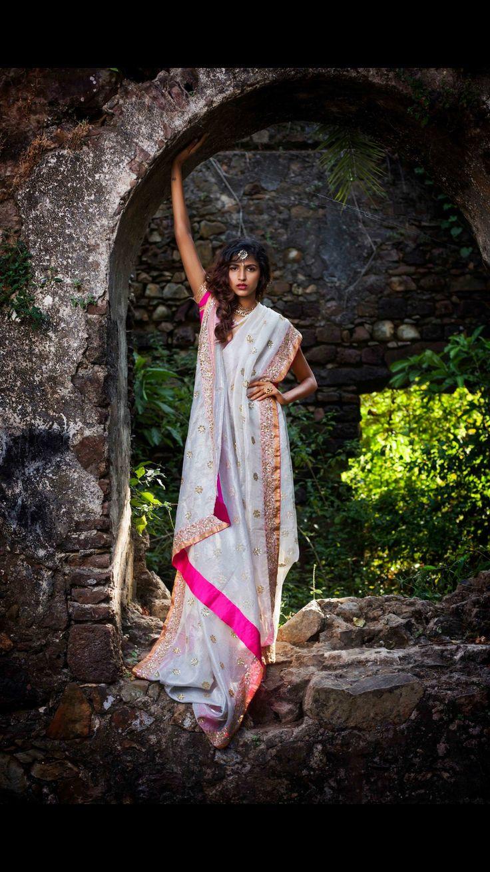 Simply elegant with this white kota saree and rani pink border. Designer: Vidhi Singhania, Photographer: Sharat Chandra, Model: Neelam Virwani