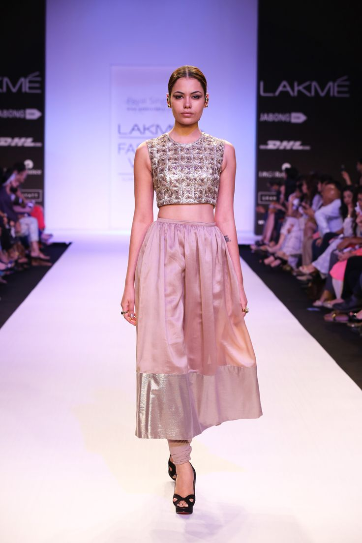 NOELLE  Geometric Embroidered Crop Tunic over Mocha Silk Mul Churidar-Skirt with Gold Brocade Border www.payalsinghal.com/off-the-runway/noelle