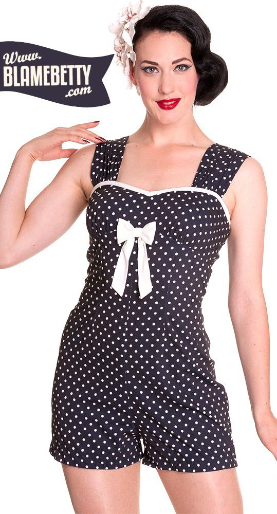 cutest! summer is here in this adorable polka dot romper. #pinup #pinupstyle #rockabilly