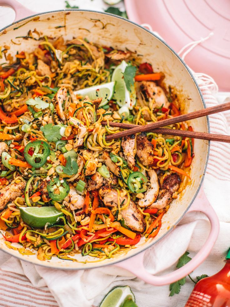 Healthy Chicken Pad Thai with Zoodles