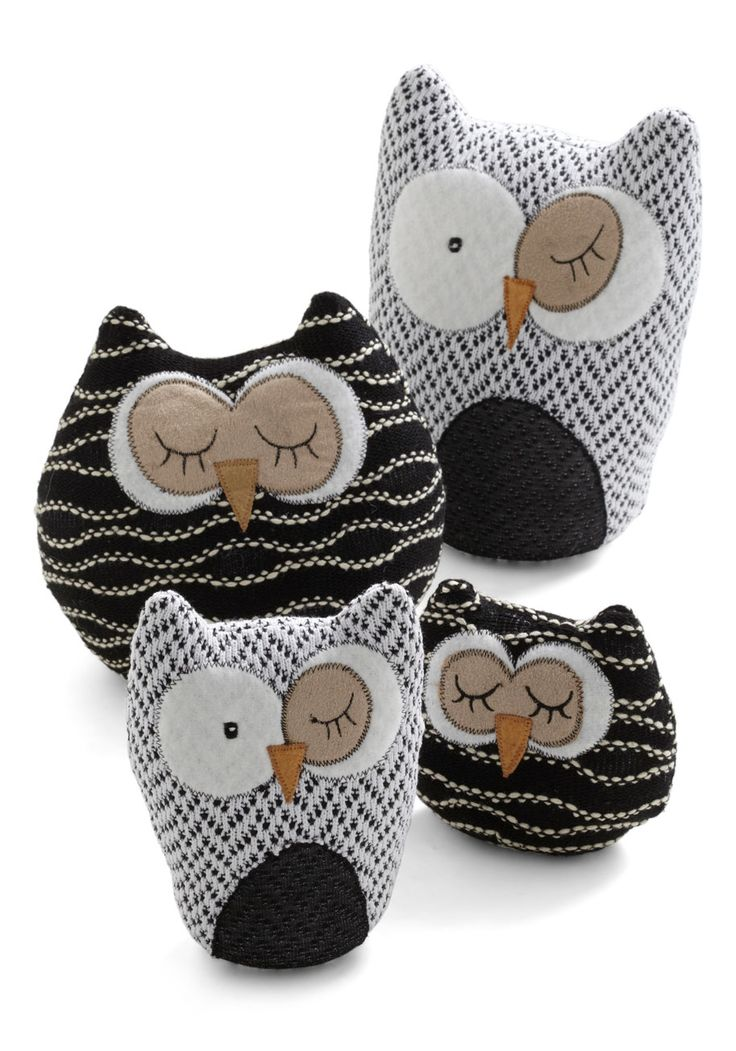 Owl in Plush Set - Multi, Dorm Decor, Owls these look easy enough to make