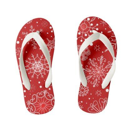 Snowflake Surprise Red Flip Flops Thongs Jandals - Xmas ChristmasEve Christmas Eve Christmas merry xmas family kids gifts holidays Santa