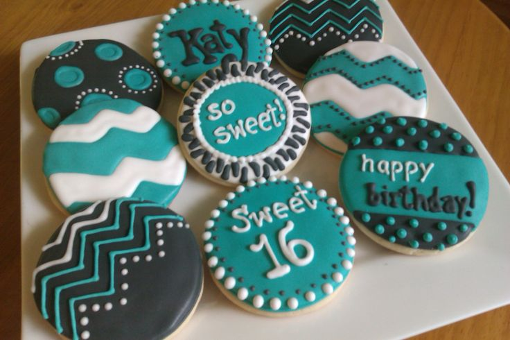 sweet 16 teal and black cookies  by www.cakethatbakery.com