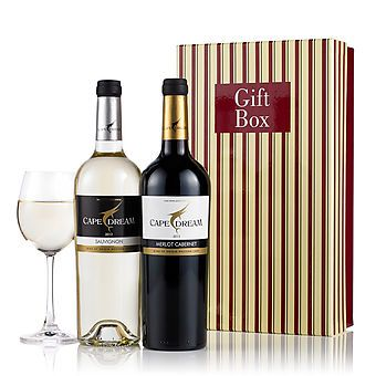 £24.99 - This duo of Cape Dream wine is presented in a smart red and gold gift box and will make an excellent Christmas choice as a corporate gift or for friends and family.