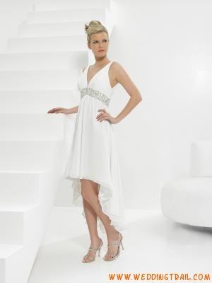 Cheapest Modest Short Tea Length Summer/Beach/Destination Casual Wedding Gowns