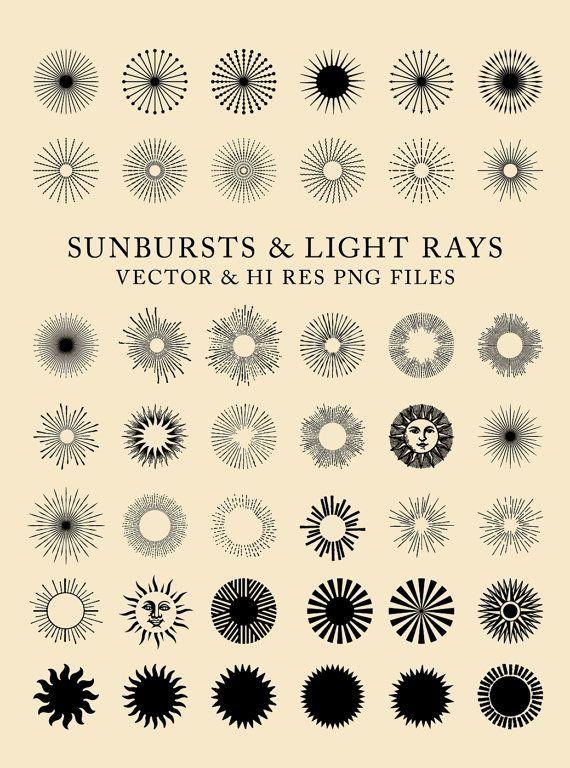 42 Vintage Sunbursts, Light Rays Clipart Clip Art PNG & Vector EPS, AI Design Elements Digital Insta