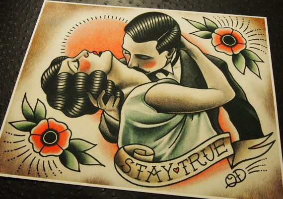 Stay TrueTraditional Tattoo Print by ParlorTattooPrints on Etsy, $26.00