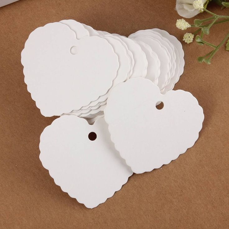 50X Mini Blank Heart shape Kraft Paper Hang Tags Wedding Party Label Price Gift Cards Bookmark Maker : Material: Kraft Paper  Color: White  Size : .